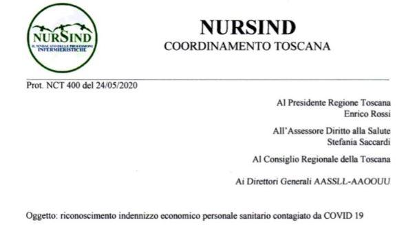 NURSIND insiste a richiedere alla Regione il riconoscimento di un contributo per i colleghi che si sono infettati